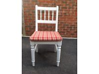 Set of six solid pine kitchen chairs. Painted white.
