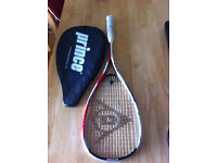 Squash shoes, racket, and ball