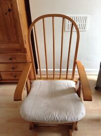 Wooden rocking chair with covers and stool