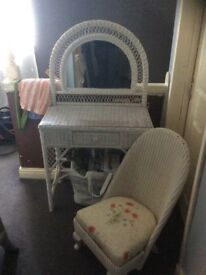 White wicker dresser and chair