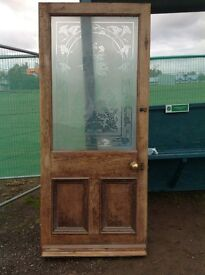 Antique wooden door with etched glass inlay. 3 ft X 7 ft.