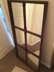 Dark wood six panel mirror lovely condition