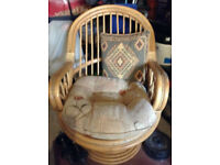 cane egg shape swivel chair