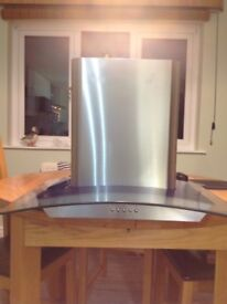 Stainless steel 600mm wide cooker hood in good working condition