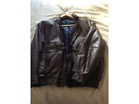 Man's Brown Leather Jacket, chest size 97-102 cm (38-40 in). Navy satin padded lining.