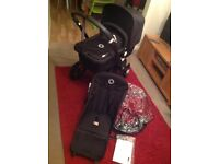 All black bugaboo cameleon 2 with raincover. Pushchair/pram. Foam filled wheels.Can be Parent facing