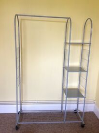 Clothes rail with shelves. Black metal curtain rail set