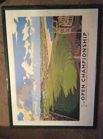 Limited edition golfing poster print of 129th Open Championship in 2000 at St Andrews
