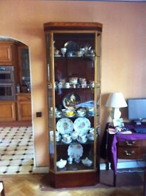 F Sage & co 2 tall vintage matching glass display cabinets for sale. excellent condition.