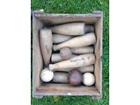 antique wooden skittles with antique wooden advertisment crate