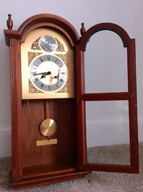 Manley Pendulum Wall Clock Westminster Chimes 1980 Vintage