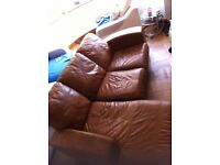 Used brown leather corner sofa in good condition
