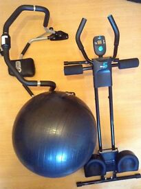 VitalMaxx Abdominal Core and Cardio Trainer, MH Exercise Ball and VFit Abdominal Crunch Exerciser.