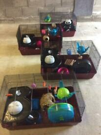 Bird cage £15 and 3 other large cages £24 each, all very well equipped. (£79 the lot)