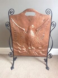 Vintage Aet Nouveau Copper and Wrought Iron Fire Screen