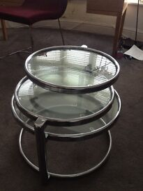 Three tier glass and crome side display table circular glass spin round lovely contemporary table.