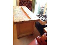 Kitchen unit/island with character. Vintage school workbench, very sturdy,solid wood, 4 available.