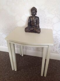 pair of occasional tables, shabby chic effect