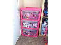 3 x toy storage draw.. good condition (pink)