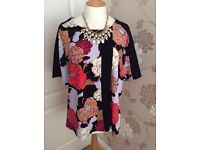 Next floral jersey top size 18