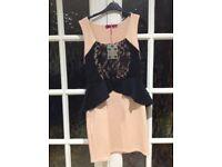Nude peplum dress by Boo Hoo x 2