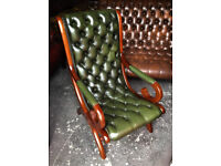 Green leather Chesterfield slipper armchair or oxblood rocker chair