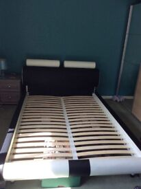 Faux leather Italian design bed frame, heavy and sturdy, gorgeous in any bedroom