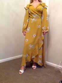 Boohoo ruffle shoulder wrap front maxi dress size 10