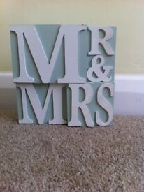 Mr and Mrs light blue ornament