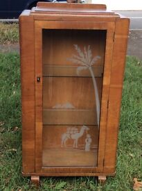 Wood veneer glass cabinet