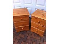 Pair of pine slimline 3 drawer chests