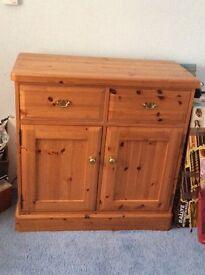 Pine 2 drawer/2cupboard storage unit