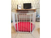 Lindam metal playpen and padded mat, can be used as room divider