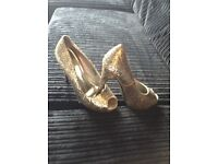 Gold glitter shoes