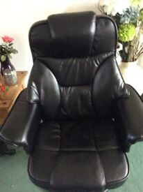 Leather reclining swivel chair