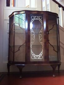 Large Vintage Antique Glass Display Cabinet Genuine RIVINGTON London / FREE Local Delivery