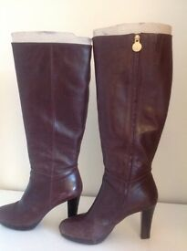 Leather GEOX boots size 7 euro 41 brown platforms