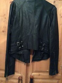 Ladies black leather jacket size 16 from River island excellent condition