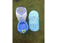 Tommy tippy nappy bin and bath seats