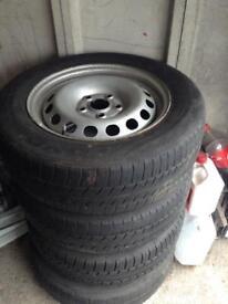"""Volkswagen 5x112 caddy vw touran 15"""" steel wheels and winter tyres"""