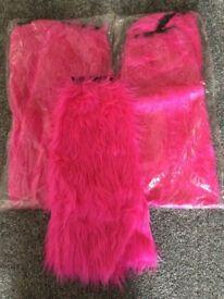 pink furry legwarmers,one size child/adult x 3 pairs