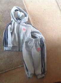 Adidas grey track suit to fit 6-9 months hoody top