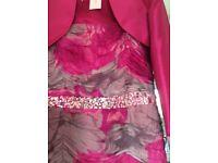 Gina Bacconi mother of bride pink and grey silk print dress and bolero jacket. Size 12