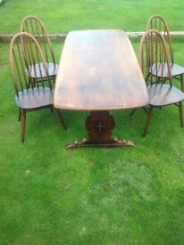 1960's Ercol Elm Quaker Dining Table and 4x Chairs