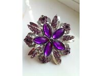 Purple and silver diamanté ring