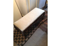 Antique Solid Mahogany Footstool/Damask Cream Cover