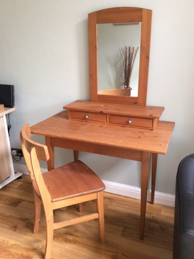 Wooden dressing table/writing desk with top shelf and drawers and matching chair