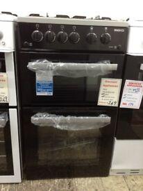 Beko 50cm black & grey gas cooker. New/graded 12 month Gtee