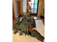 Large wooden castle, playmobile knights and horses