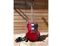 Gibson SG style guitar by Vintage in cherry red. VGC